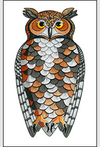 Colorful Character Drawing by Kim Russell | Great Horned Owl
