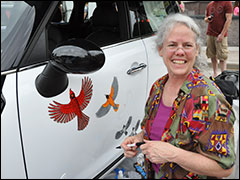 Kim Russell at Art Fair On The Square Painting Mini Cooper With Bird Art